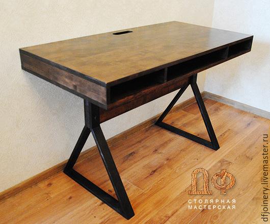 Мебель ручной работы. Ярмарка Мастеров - ручная работа. Купить Письменный стол «Лофт». Handmade. Коричневый, натуральное дерево, массив