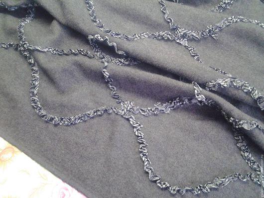 Шитье ручной работы. Ярмарка Мастеров - ручная работа. Купить Шерсть костюмно-плательная бохо, с вышивкой рюшками. Handmade. Серый