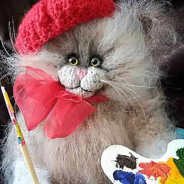 """Куклы и игрушки ручной работы. Ярмарка Мастеров - ручная работа Мягкие игрушки: Котик """"Художник"""". Handmade."""