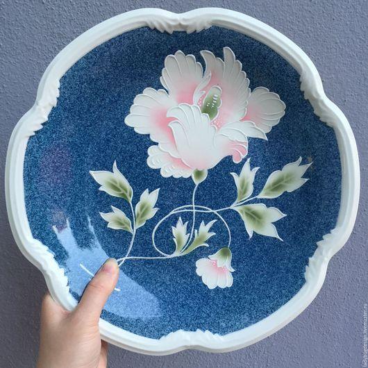 Винтажные предметы интерьера. Ярмарка Мастеров - ручная работа. Купить Синяя тарелка 'JLMENAU' до 1973 гг. Handmade. Комбинированный, выпечка