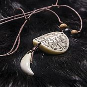 Фен-шуй и эзотерика handmade. Livemaster - original item the tooth of a wolf with an amulet made of bone with any ornament,free shipping. Handmade.