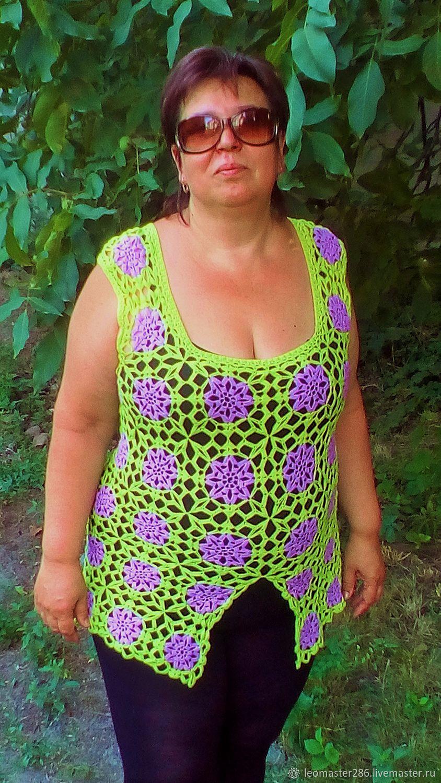Двухцветная ,ажурная туника  крючком, Платья, Днепр,  Фото №1
