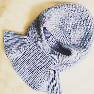 Одежда ручной работы. Ярмарка Мастеров - ручная работа Шапка- шлем голубая .. Handmade.