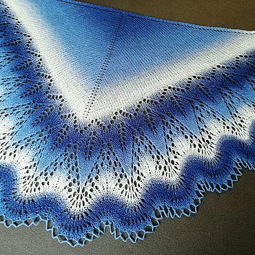 Аксессуары ручной работы. Ярмарка Мастеров - ручная работа Шаль из Кауни. Синий ,голубой, белый цвет.. Handmade.