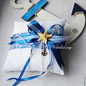Свадебный салон ручной работы. Ярмарка Мастеров - ручная работа Подушечка для колец в морском стиле. Handmade.
