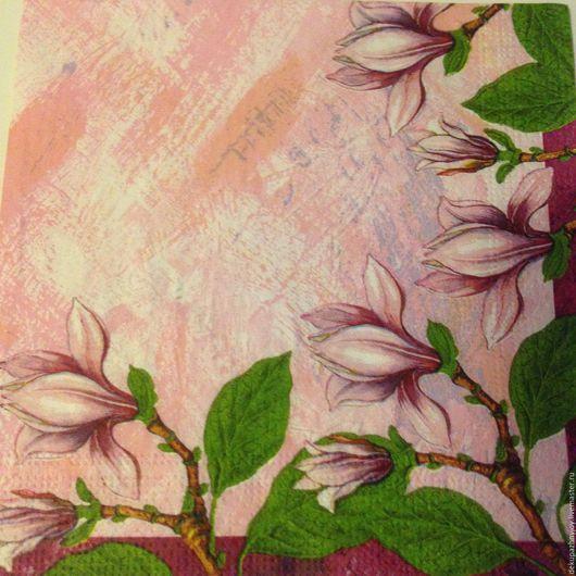 Салфетка для декупажа - сиреневые сочные лианы и цветы Декупажная радость