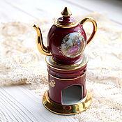 """Винтажные предметы интерьера ручной работы. Ярмарка Мастеров - ручная работа Limoges миниатюра чайник на подставке """"Галантные сцены. Handmade."""