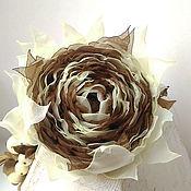 Украшения handmade. Livemaster - original item Brooch hair clip with fabric flower. Chocolate-vanilla rose. Handmade.