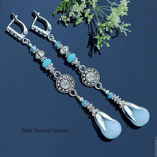 Длинные серьги с нефритом нежного голубого цвета_Твоя история. Длинные голубые серьги на вечер, в подарок, для невесты.