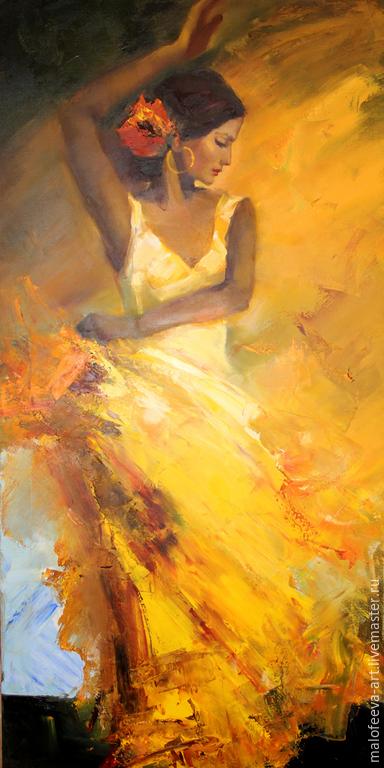 Люди, ручной работы. Ярмарка Мастеров - ручная работа. Купить Фламенко. Handmade. Разноцветный, фламенко, танец, желтый, Испания