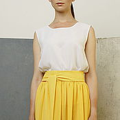 Одежда handmade. Livemaster - original item Top chiffon white straight round neck casual top. Handmade.