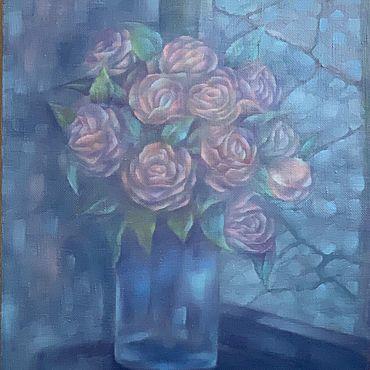 Картины и панно ручной работы. Ярмарка Мастеров - ручная работа «Розы в сумерках» картина маслом. Handmade.