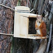 Дача и сад handmade. Livemaster - original item Wooden feeder for squirrels. Handmade.