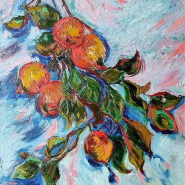 Картины и панно ручной работы. Ярмарка Мастеров - ручная работа Лимоны фактурная интерьерная картина маслом. Handmade.