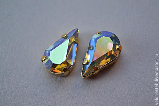Для украшений ручной работы. Ярмарка Мастеров - ручная работа. Купить Винтажные кристаллы Swarovski 13х7,8 мм. цвет  Lt. Sapphire AB. Handmade.