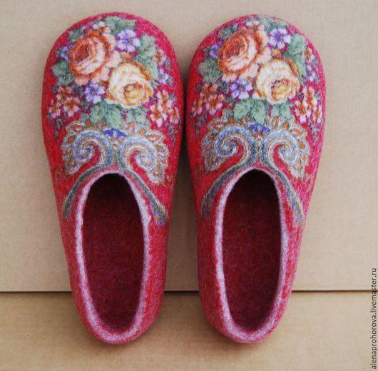 """Обувь ручной работы. Ярмарка Мастеров - ручная работа. Купить Войлочные тапочки  """"Букет"""". Handmade. Тапочки, тапки, войлочные тапки"""