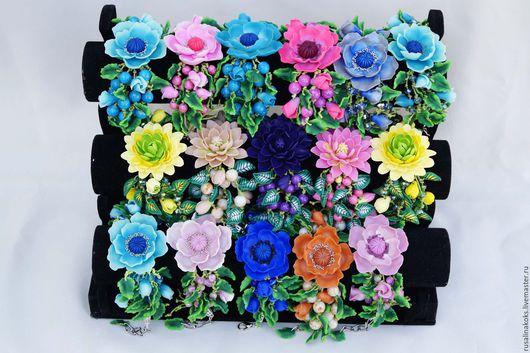 Браслеты ручной работы. Ярмарка Мастеров - ручная работа. Купить Объемный браслет с крупным цветком. Handmade. Комбинированный
