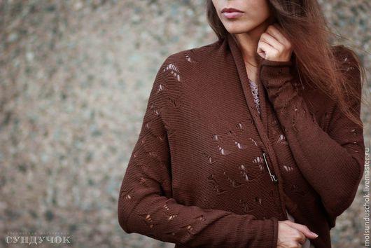 """Кофты и свитера ручной работы. Ярмарка Мастеров - ручная работа. Купить Кардиган """" Шоколад"""". Handmade. Коричневый, шелковистый, кардиган"""