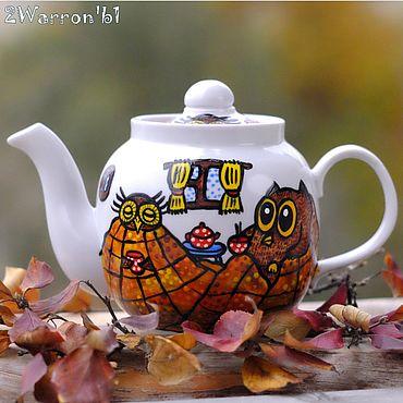 Посуда ручной работы. Ярмарка Мастеров - ручная работа Чайник заварочный Совиное чаепитие, ручная роспись. Handmade.
