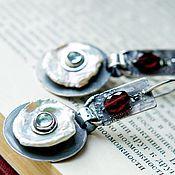 Украшения ручной работы. Ярмарка Мастеров - ручная работа Серьги серебро NACRE: серебро, жемчуг, топазы, гранат гессонит. Handmade.