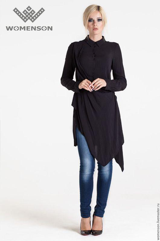 Блузки ручной работы. Ярмарка Мастеров - ручная работа. Купить Рубашка-трансформе Free Black. Handmade. Черный, дизайнерская одежда