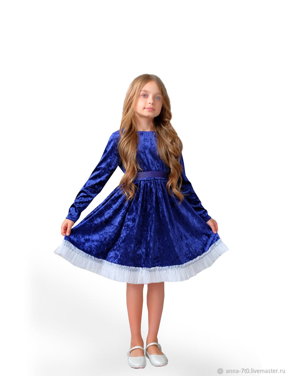 """Платье """"Бархатная элегантность"""" синий, с фатином, Платья, Самара,  Фото №1"""