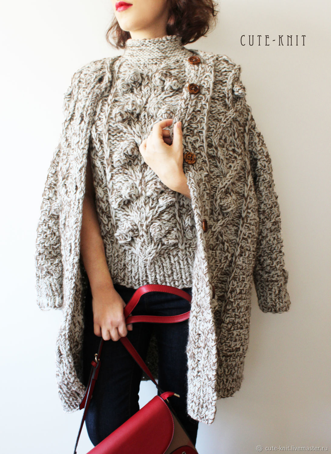 To better visualize the model, click on the photo CUTE-KNIT NAT Onipchenko Fair masters to Buy cardigan for women