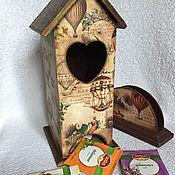 """Для дома и интерьера ручной работы. Ярмарка Мастеров - ручная работа Чайный домик с салфетницей """"Полёт на воздушном шаре"""". Handmade."""