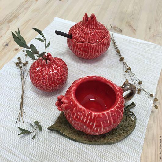 Сервизы, чайные пары ручной работы. Ярмарка Мастеров - ручная работа. Купить Набор посуды красно-белый гранат. Handmade.