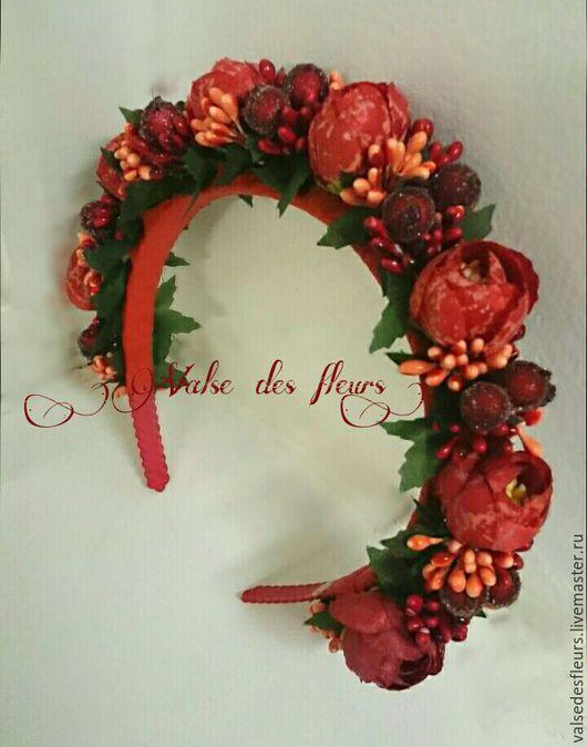 Диадемы, обручи ручной работы. Ярмарка Мастеров - ручная работа. Купить Ободок из цветов и ягод. Handmade. Ярко-красный, ягоды