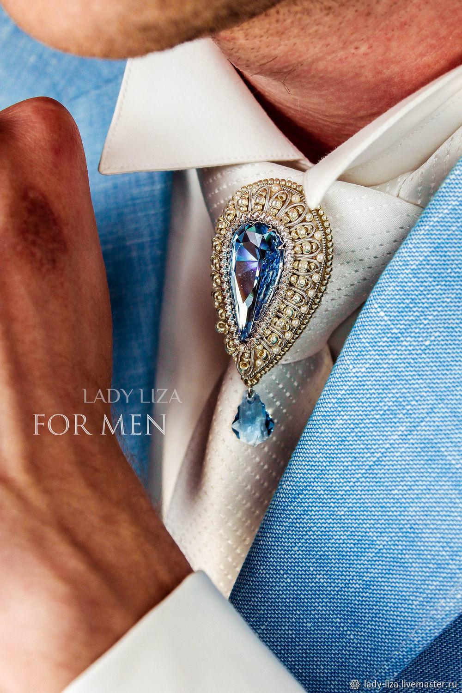 tie clip: The brooch on the knot of his tie. Brooch Ferhat Aquamarine, Tie clip, Zelenokumsk,  Фото №1