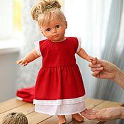 handmade. Livemaster - original item Doll clothes, red dress for dolls made of natural linen. Handmade.