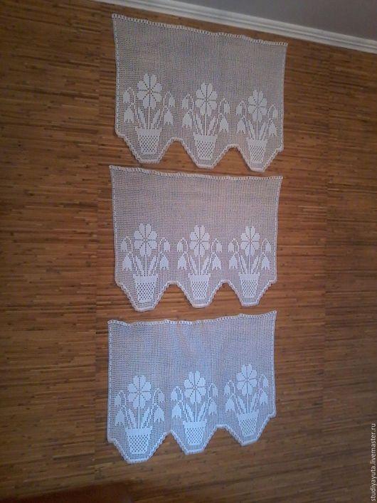 """Текстиль, ковры ручной работы. Ярмарка Мастеров - ручная работа. Купить Комплект занавесок с фестонами """"Цветы"""". Handmade. Белый"""
