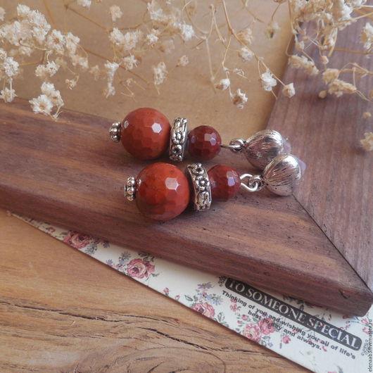 """Серьги ручной работы. Ярмарка Мастеров - ручная работа. Купить Серьги""""Красная ягода"""". Handmade. Красно-коричневый, красные серьги"""