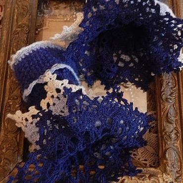 Аксессуары ручной работы. Ярмарка Мастеров - ручная работа Синие вязаные манжеты с ажурным кружевом из шерсти. Handmade.