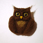 Brooches handmade. Livemaster - original item Owl brown felt ( brooch ). Handmade.