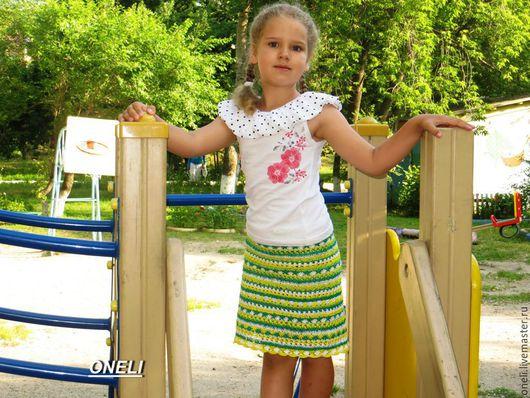 Одежда для девочек, ручной работы. Ярмарка Мастеров - ручная работа. Купить Стильная юбка для девочки. Handmade. Желтый, юбка летняя