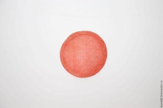 Основа для шляпки, вуалетки, синамей, диаметр 7 см. Цвет: КОРАЛЛ, полуфабрикат для изготовления шляп и головных уборов. Анна Андриенко. Ярмарка Мастеров.