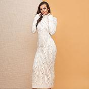 Одежда handmade. Livemaster - original item White knit dress with braids. Handmade.