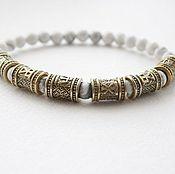 Украшения handmade. Livemaster - original item Bracelet made of stone with bronze palaces. Handmade.