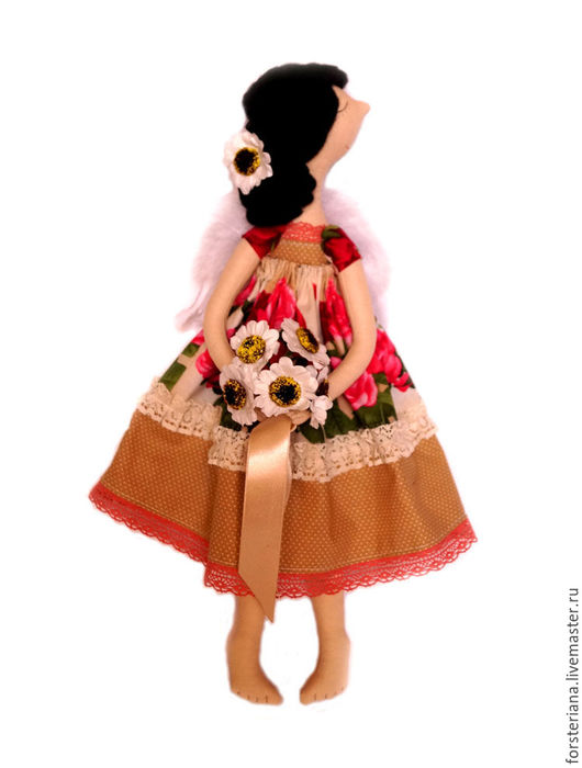 """Куклы Тильды ручной работы. Ярмарка Мастеров - ручная работа. Купить Феечка тильда """"Кармелита"""". Handmade. Ярко-красный"""