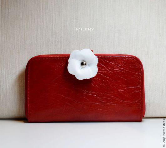КОШЕЛЕК ЖЕНСКИЙ , кошелек кожаный женский , кошелек красный кожаный кошелек купить кожаный кошелек ручной работы