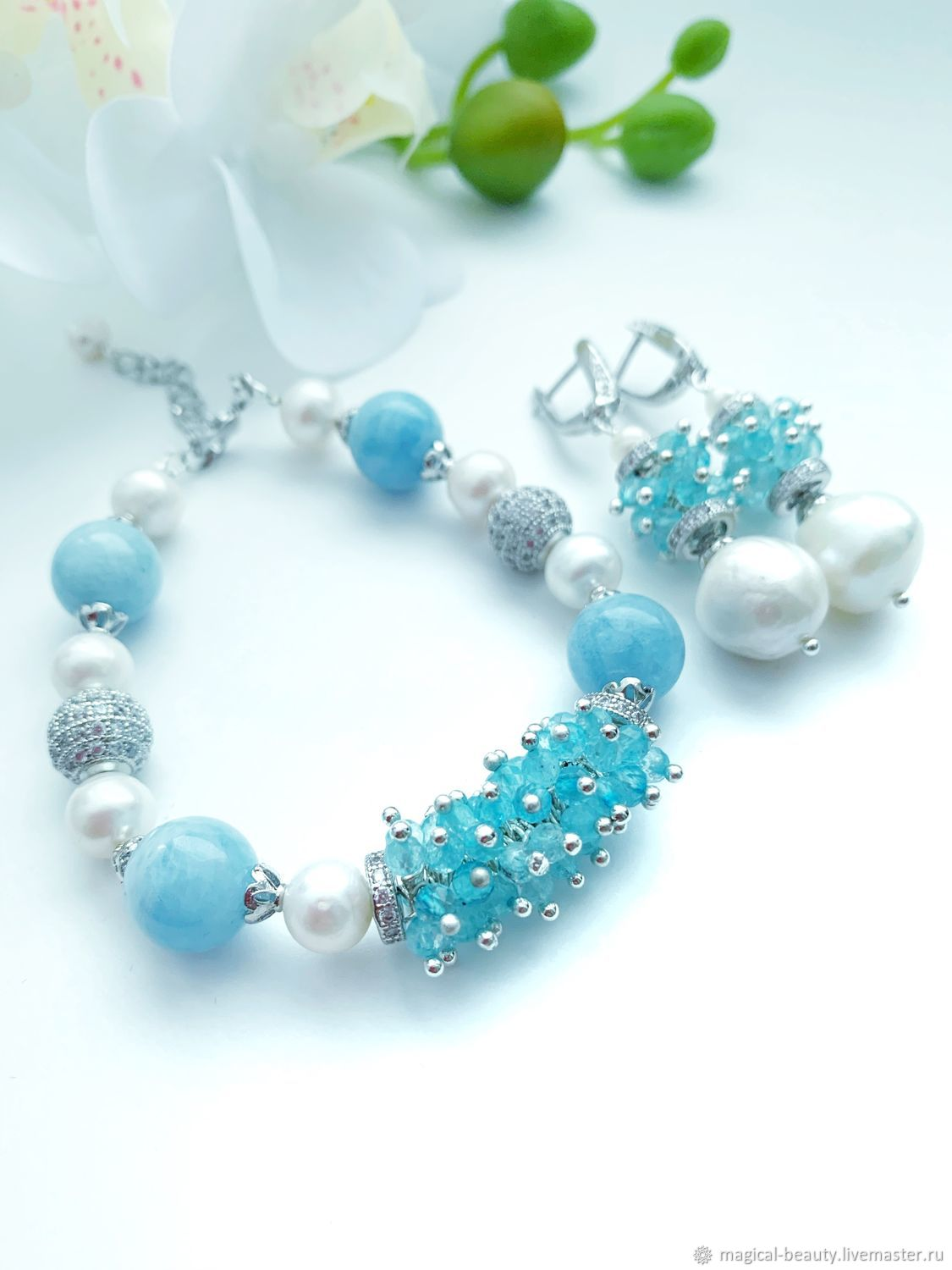 Bracelet and earrings with aquamarine and pearls ' Tenderness', Bead bracelet, Moscow,  Фото №1