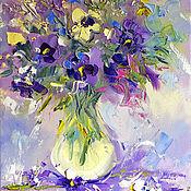 """Картины и панно ручной работы. Ярмарка Мастеров - ручная работа """"Фиолетовый Ветер"""" - картина маслом с букетом цветов. Handmade."""