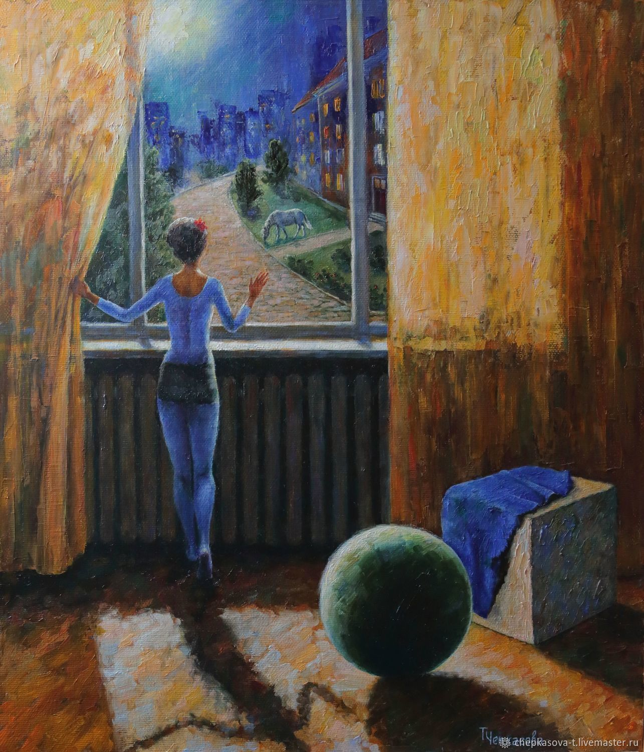 The girl at the window. 70h60 cm. Oil on canvas. 2019, Pictures, Moscow,  Фото №1