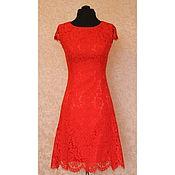 Одежда ручной работы. Ярмарка Мастеров - ручная работа Красное кружевное платье в стиле Valentino Амелия. Handmade.