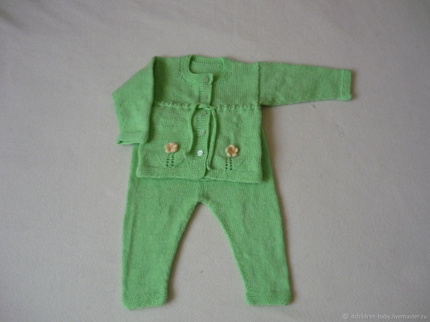 Knitted soft green set with flowers, Baby Clothing Sets, Moscow,  Фото №1