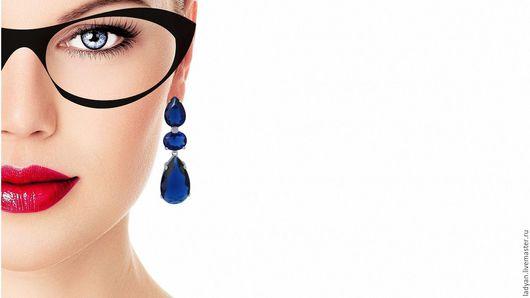 серьги с синими камнями, серьги классические, серьги необычные, серьги стильные, серьги вечерние, синий, синий камень, сапфировый, сапфир, длинные серьги, серьги подвески