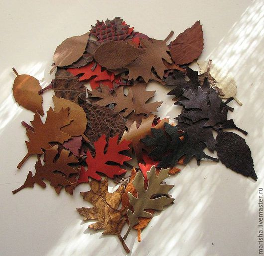 """Аппликации, вставки, отделка ручной работы. Ярмарка Мастеров - ручная работа. Купить """"Листья"""" из натуральной кожи, 50 шт.. Handmade."""