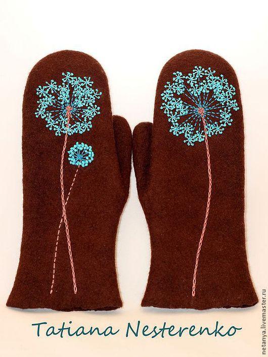 """Варежки, митенки, перчатки ручной работы. Ярмарка Мастеров - ручная работа. Купить Варежки """"Шоколад и бирюза или рукавички с луком"""". Handmade."""